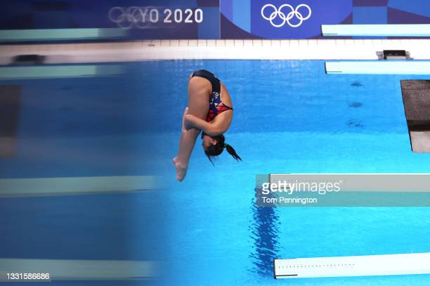 Nur Dhabitah Sabri of Team Malaysia competes in the Women's 3m Springboard Semi final on day eight of the Tokyo 2020 Olympic Games at Tokyo Aquatics...