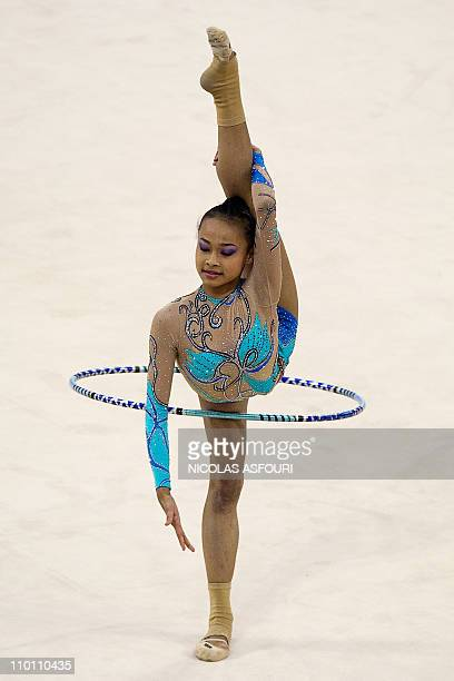 Nur Hidayah Abdul Wahid of Malaysia performs during the rhythmic gymnastics individual allaround final during the 16th Asian Games on November 26...