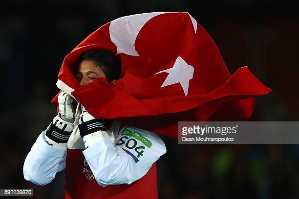 Nur Tatar of Turkey celebrates winning the Women's Taekwondo 67kg Bronze Medal Contests against ChiaChia Chuang of Chinese Taipei on Day 14 of the...