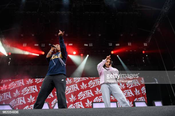 Rapper Jan Delay of the band Beginner performs live on stage during the second day of the Hurricane festival on June 23 2018 in Scheessel Germany
