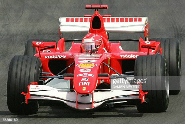 German Ferrari driver Michael Schumacher steers his car at the Nurburgring racetrack during the Grand Prix of Europe in Nurburg, 07 May 2006. AFP...