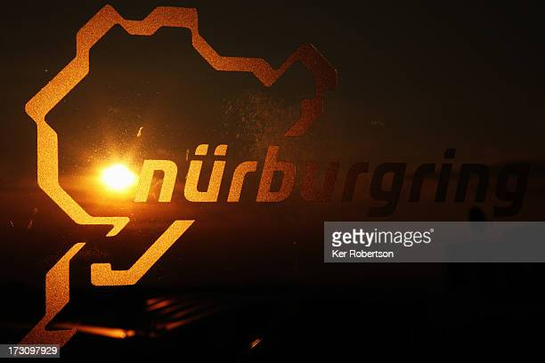 Nurburgring logo is seen on a window following qualifying for the German Grand Prix at the Nuerburgring on July 6, 2013 in Nuerburg, Germany.