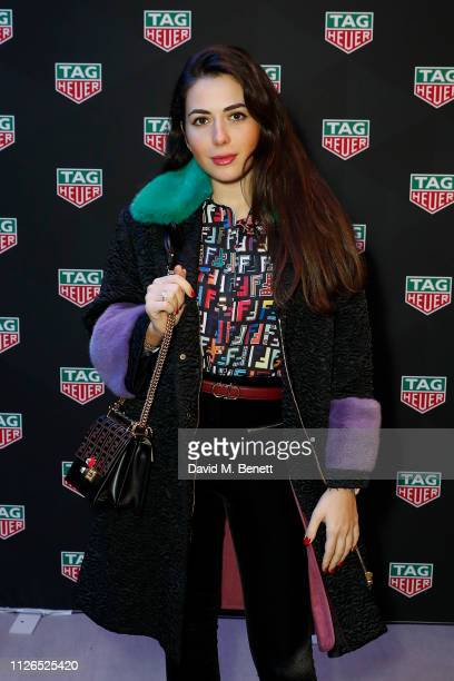 Nurce Erben attends TAG Heuer and art provocateur Alec Monopoly launch event celebrating special edition watches on January 31 2019 in London England
