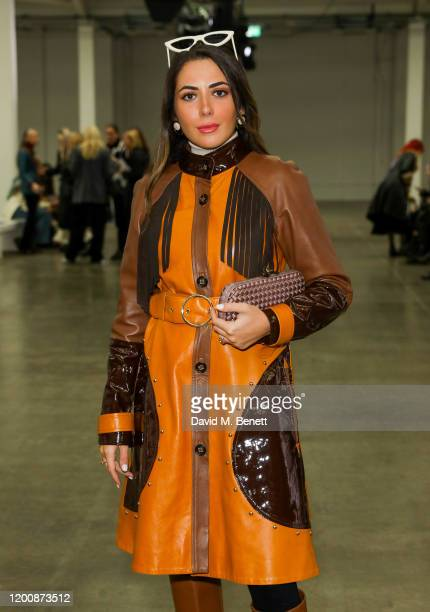 Nurce Erben attends the Marques'Almeida show during London Fashion Week February 2020 at The Old Truman Brewery on February 15 2020 in London England