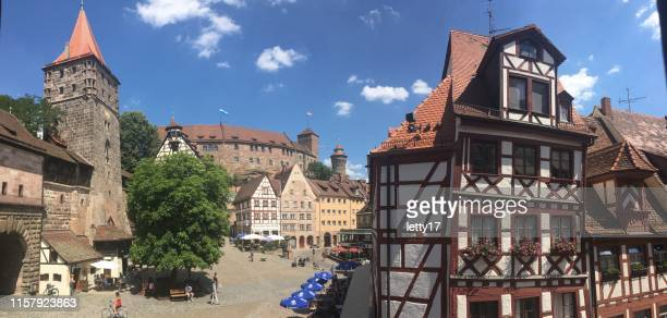 nuremberg city germany. town square near durers house and castle. - nuremberg stock photos and pictures
