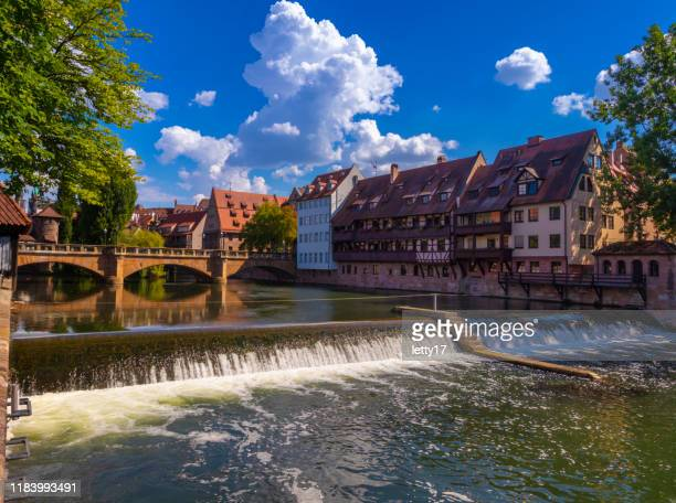 nuremberg, germany, europe. pegnitz river. beautiful place in downtown. stock photo - norimberga foto e immagini stock