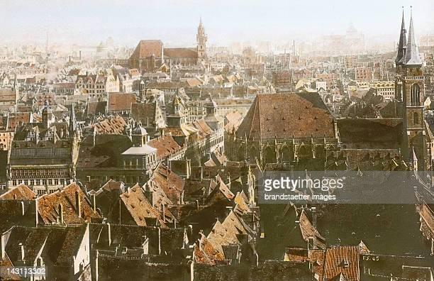 Nuremberg Panorama view of the historic city center Germany Handcolored lantern slide around 1910