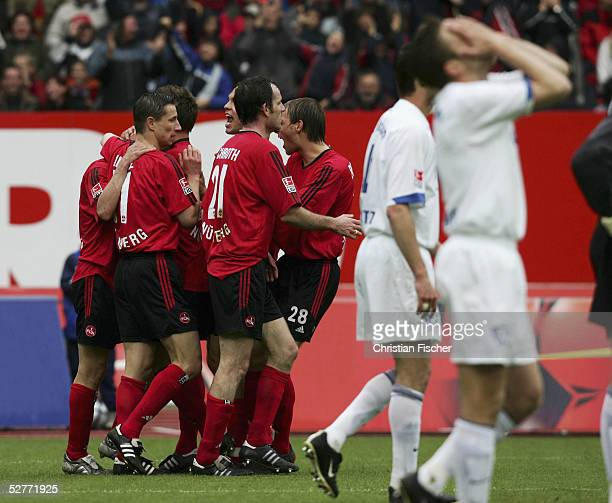 Nuremberg players celebrate the opening goal during the Bundesliga match between 1.FC Nuremberg and VFL Bochum at the Franken Stadium on May 7, 2005...