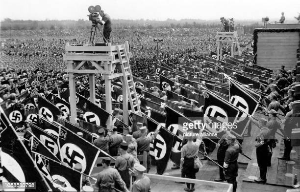 Nuremberg Rally 1933 in Nuremberg, Germany - Line-up of members of the SA at the Nazi party rally grounds. Photo: Berliner Verlag / Archive