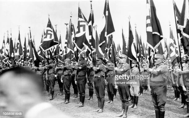 Nuremberg Rally 1933 in Nuremberg, Germany - Line-up of SA units at the Nazi party rally grounds. Photo: Berliner Verlag / Archive