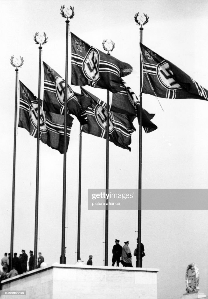 Nuremberg Rally 1937 in Nuremberg, Germany - German Reich war flags