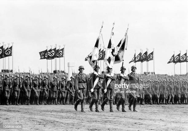Nuremberg Rally 1937 in Nuremberg Germany Nazi party rally grounds Demonstration by the German Wehrmacht on Zeppelin Field here parade of the...