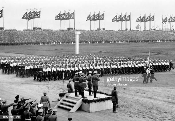 Nuremberg Rally 1937 in Nuremberg Germany Nazi party rally grounds Demonstration by the German Wehrmacht on Zeppelin Field here the Navy's...