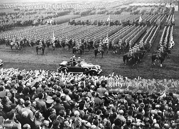 Nuremberg Rally 1938 Adolf Hitler taking the salute of a cavalry unit of the Wehrmacht at the rally ground Photographer PresseIllustrationen Heinrich...