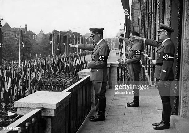 Nuremberg Rally 1938 Adolf Hitler taking the salute of the Hitler Youth right and 2nd from right Baldur von Schirach the leader of the Hitler Youth...