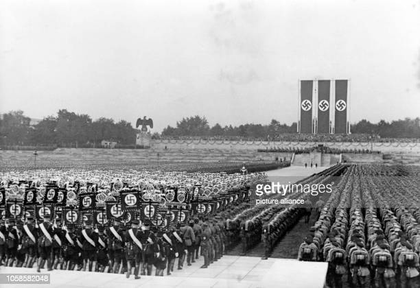 Nuremberg Rally in Nuremberg, Germany - Nazi party rally grounds - March-in of the standards for the great roll call of Sturmabteilung ,...