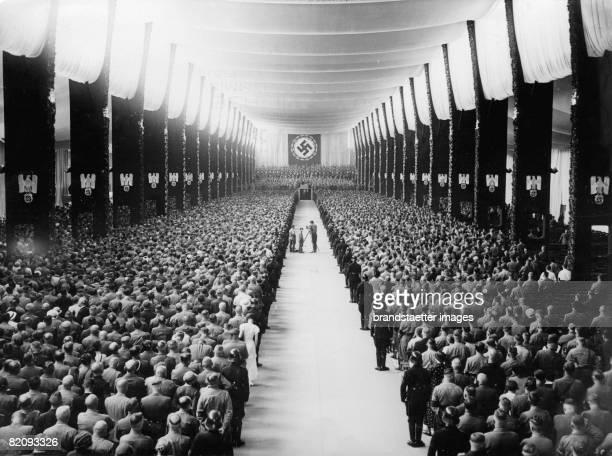 """Nuremberg Rally , Nuremberg, Photograph, 1934 [Reichsparteitag der NSDAP unter dem Motto """"Einheit und St?rke"""", Luitpoldhalle, N?rnberg, Photographie,..."""