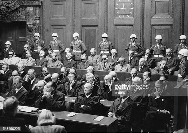 Nuremberg Trials First row Hermann Göring Rudolf Hess Joachim von Ribbentrop Wilhelm Keitel Ernst Kaltenbrunner Alfred Rosenberg Wilhelm Franck...