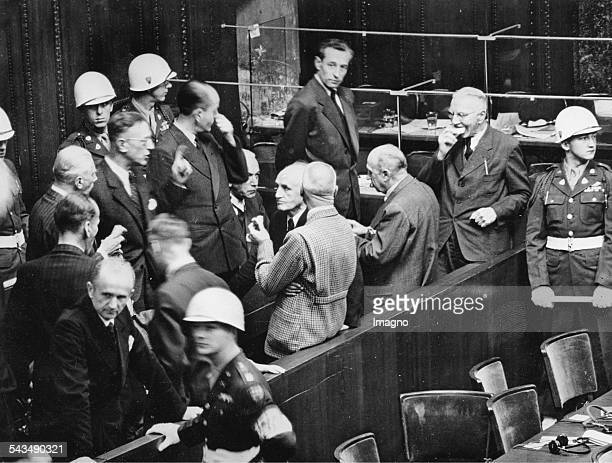 Nuremberg Trials First rowAlfred Rosenberg Hans Frank Wilhelm Frick Julius Streicher und Walter Funk Back row from leftAlfred Jodl Franz von Papen...