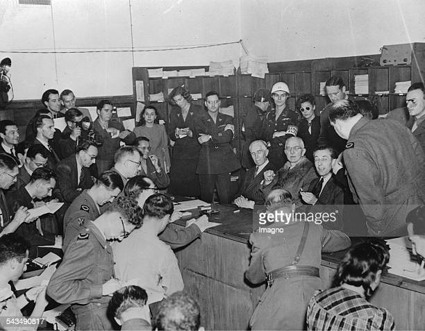 Nuremberg Trials The three acquitted the accused of the war crimes trial Franz von Papen Hjalmar Schacht and Hans Fritzsche give members of the press...