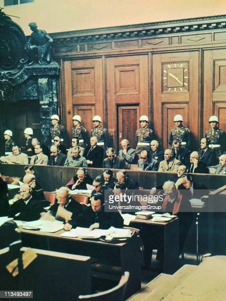 Nuremberg War Crimes trial 1946 defendants including leading Nazi politicians Herman Goring and Rudolf Hess