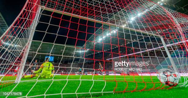 Nuremberg´s German goalkeeper Fabian Bredlow sits on the pitch after the fifth goal by Leipzig´s Austrian forward Marcel Sabitzer during the German...