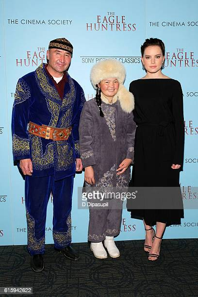 "Nurgaiv Rys, Aisholpan Nurgaiv, and Daisy Ridley attend a screening of ""The Eagle Huntress"", hosted by Sony Pictures Classics and The Cinema Society,..."