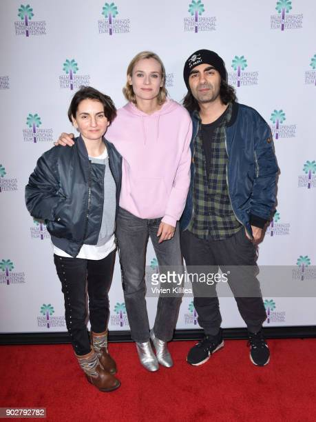 Nurhan SekerciPorst Diane Kruger Fatih Akin attend a screening of 'In The Fade' at the 29th Annual Palm Springs International Film Festival on...