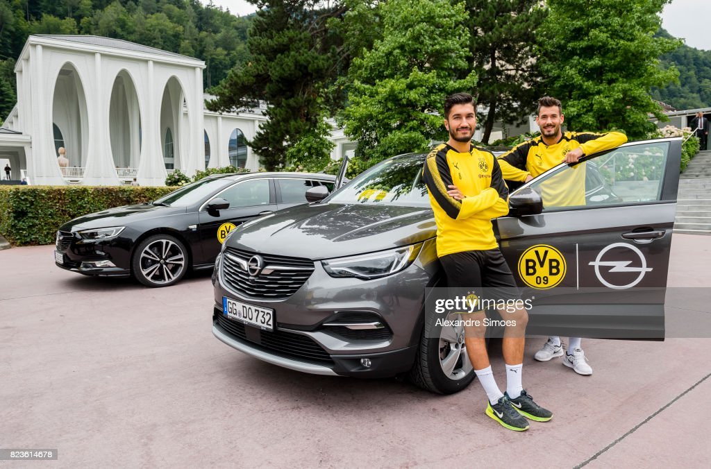 Nuri Sahin and Roman Buerki of Borussia Dortmund during a game called 'Quiz Taxi' for the sponsor Opel as part of the training camp on July 27, 2017 in Bad Ragaz, Switzerland.