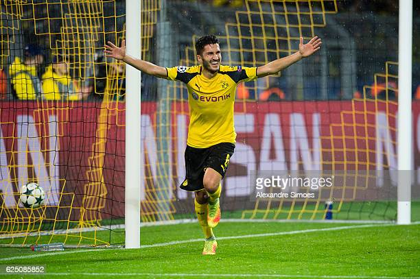 Nuri Sahin of Borussia Dortmund celebrates scoring the goal to the 31 during the UEFA Champions League First Qualifying Round 2nd Leg match between...