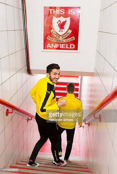 Nuri Sahin of Borussia Dortmund during a training session prior to the Europa League match between Liverpool FC and Borussia Dortmund at Anfield on...