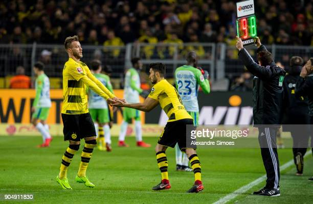 Nuri Sahin of Borussia Dortmund gets substituted for Andrey Yarmolenko during the Bundesliga match between Borussia Dortmund and VfL Wolfsburg at the...