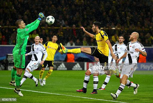 Nuri Sahin of Borussia Dortmund scores his teams third during the UEFA Champions League Group F match between Borussia Dortmund and Legia Warszawa at...