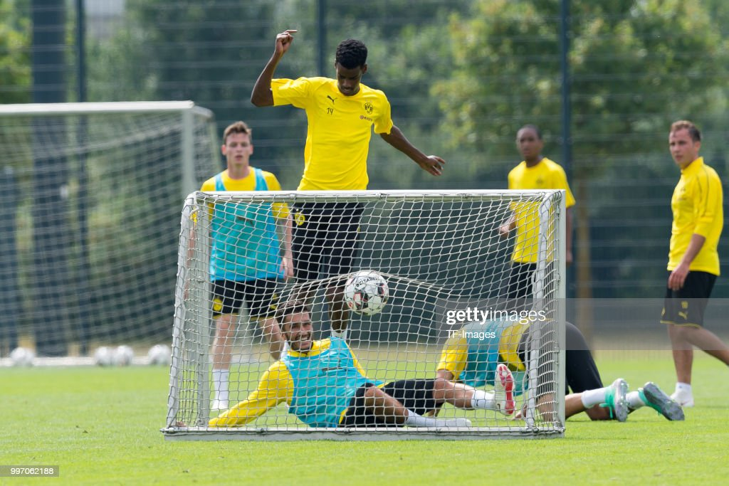 Nuri Sahin of Dortmund and Alexander Isak of Dortmund battle for the ball during a training session at BVB training center on July 12, 2018 in Dortmund, Germany.