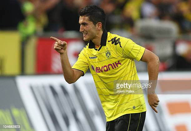 Nuri Sahin of Dortmund celebrates after scoring his team's second goal during the Bundesliga match between Borussia Dortmund and FC Bayern Muenchen...