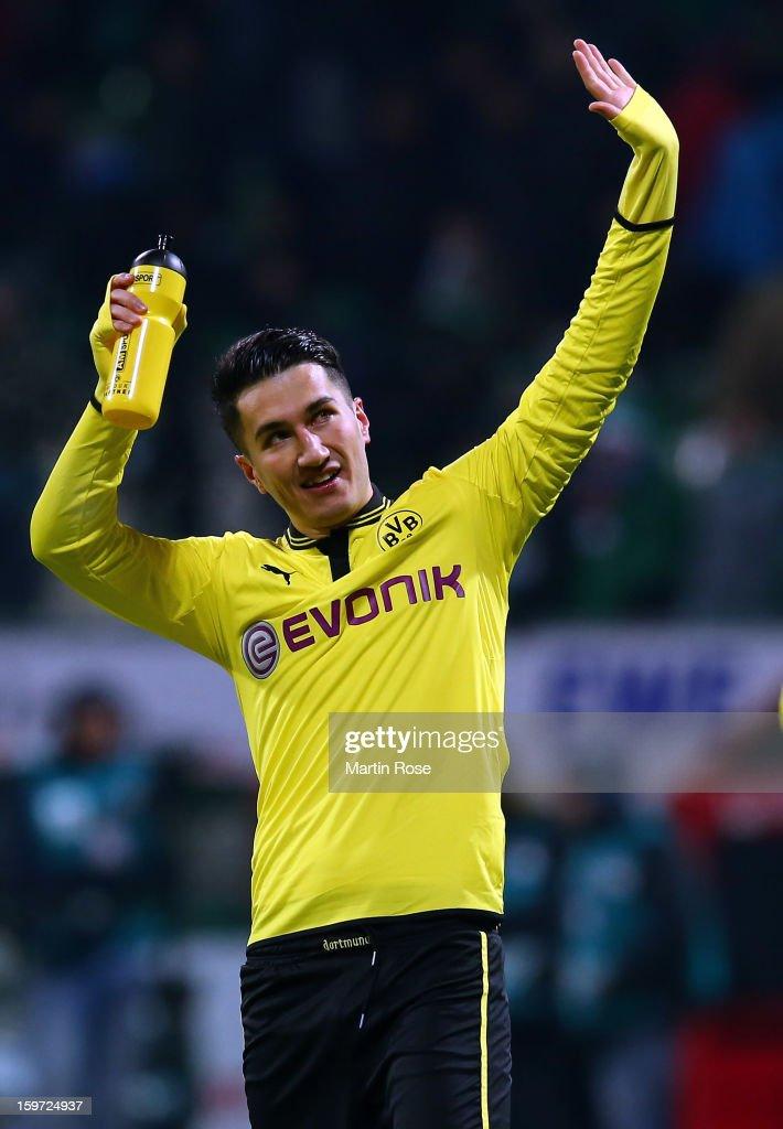 Nuri Sahin of Dortmund celebrates after the Bundesliga match between Werder Bremen and Borussia Dortmund at Weser Stadium on January 19, 2013 in Bremen, Germany.