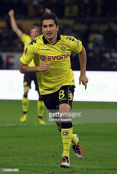 Nuri Sahin of Dortmund celebrates the first goal during the UEFA Europa League group J match between Borussia Dortmund and Paris Saint Germain at...