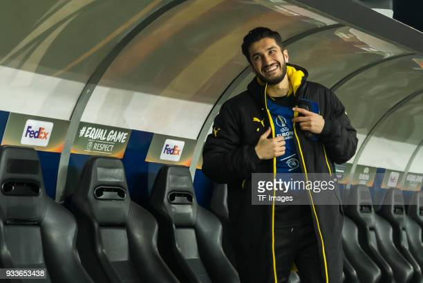 Nuri Sahin of Dortmund laughs prior to UEFA Europa League Round of 16 second leg match between FC Red Bull Salzburg and Borussia Dortmund at the Red...