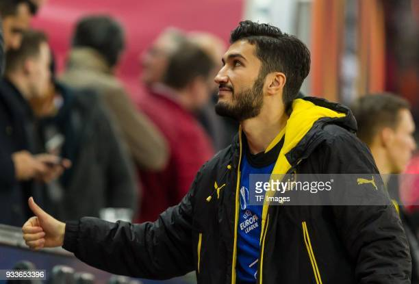 Nuri Sahin of Dortmund looks on prior to UEFA Europa League Round of 16 second leg match between FC Red Bull Salzburg and Borussia Dortmund at the...