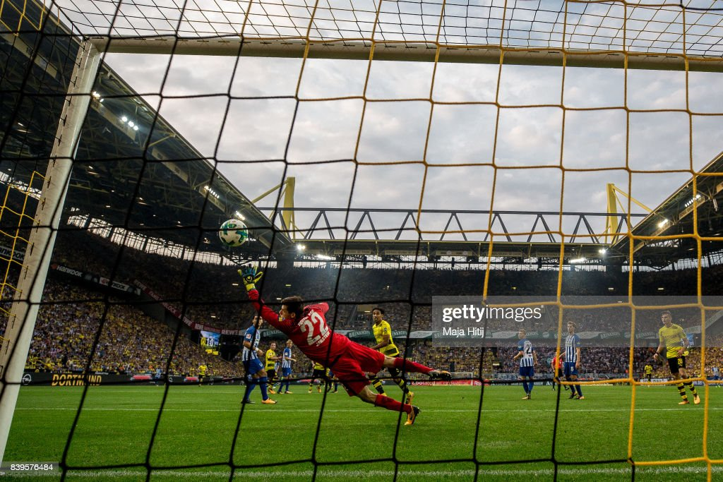 Nuri Sahin (not seen) of Dortmund scores his team's second goal against Rune Jarstein goalkeeper of Hertha #22 to make it 2:0 during the Bundesliga match between Borussia Dortmund and Hertha BSC at Signal Iduna Park on August 26, 2017 in Dortmund, Germany.