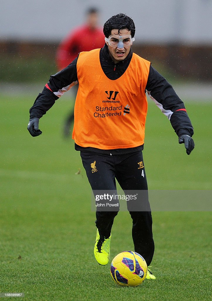 Nuri Sahin of Liverpool in action during a training session at Melwood Training Ground on December 20, 2012 in Liverpool, England.