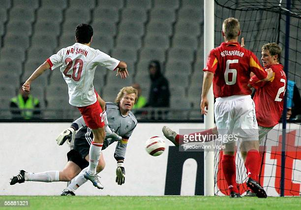 Nuri Sahin of Turkey scores the second goal during the friendly match between Turkey and Germany at the Ataturk Olympic Stadium on October 8 2005 in...