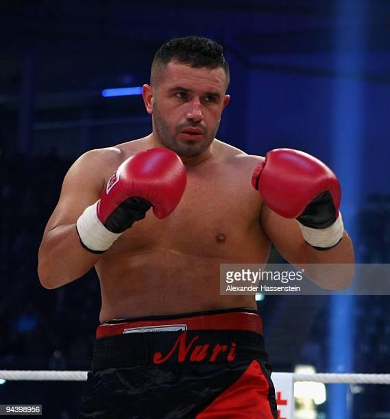 Nuri Seferi of Switzerland in action during his Cruiserweight fight against Joseph Marwa of Tanzania at PostfinanceArena on December 12 2009 in Bern...