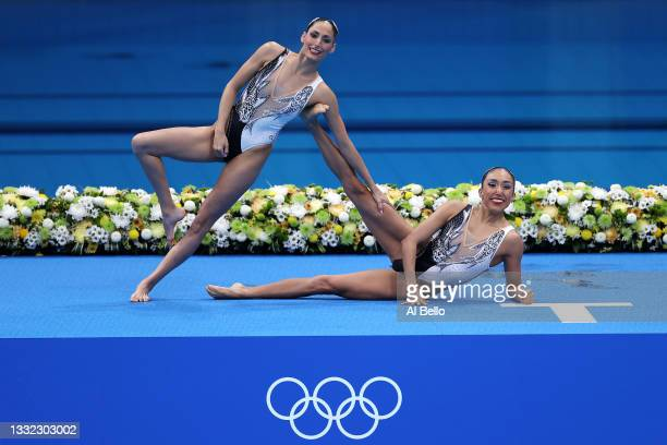 Nuria Diosdado and Joana Jimenez of Team Mexico compete in the Artistic Swimming Duet Free Routine Final on day twelve of the Tokyo 2020 Olympic...