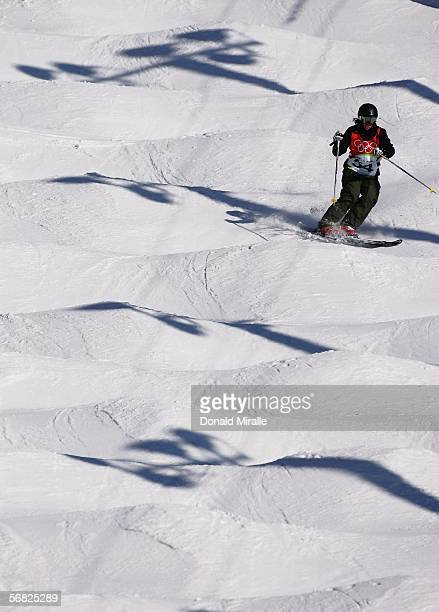 Nuria Montane of Spain competes in the Womens Freestyle Moguls Qualifying on Day 1 of the 2006 Turin Winter Olympic Games on February 11 2006 in...
