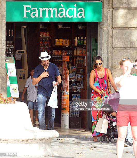 Nuria Roca and her husband Juan Del Val are seen with their children on July 28 2012 in Barcelona Spain