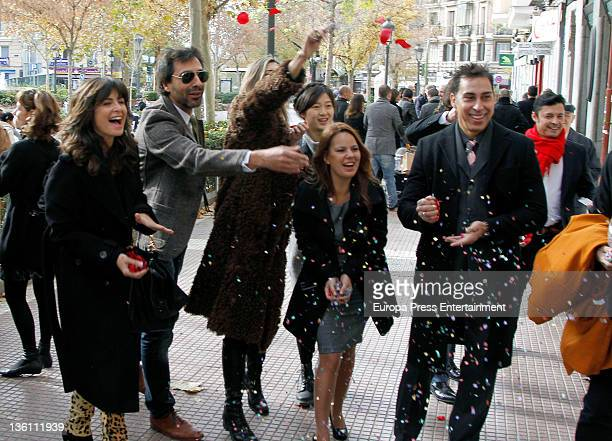 Nuria Roca and Juan del Val are seen attending a wedding on December 15 2011 in Madrid Spain