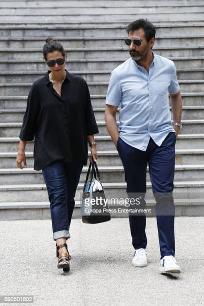 Nuria Roca and Juan del Val attend the funeral chapel for the fashion designer David Delfin at Dress Museum on June 4 2017 in Madrid Spain