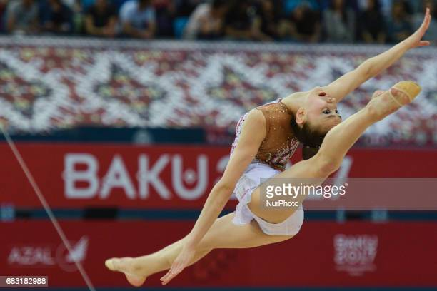 Nurinisso Usmanova of Uzbekistan competes in Women's Ball Individual Final during day three of Baku 2017 4th Islamic Solidarity Games at the National...