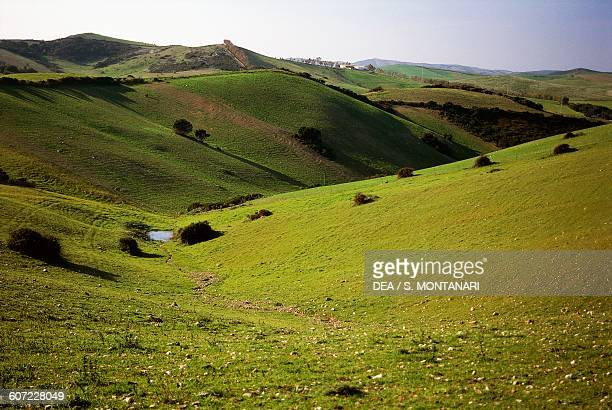Nurra plateau landscape at the foot of Mount Forte Sardinia Italy